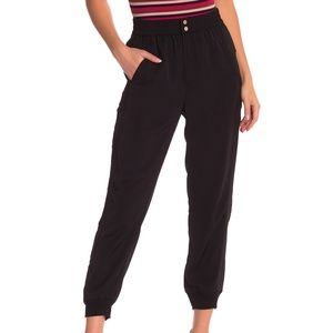 Elodie Black High Waisted Woven Joggers Pants